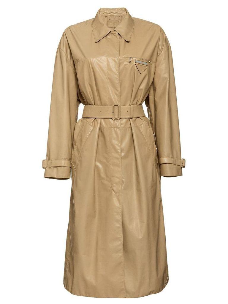 Prada Leather trench coat - Neutrals