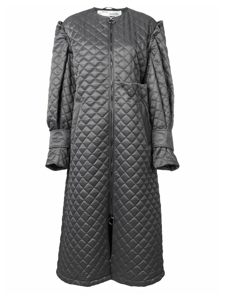 Off-White quilted long coat - Grey