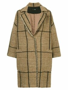 Frei Ea checked oversized coat - Brown