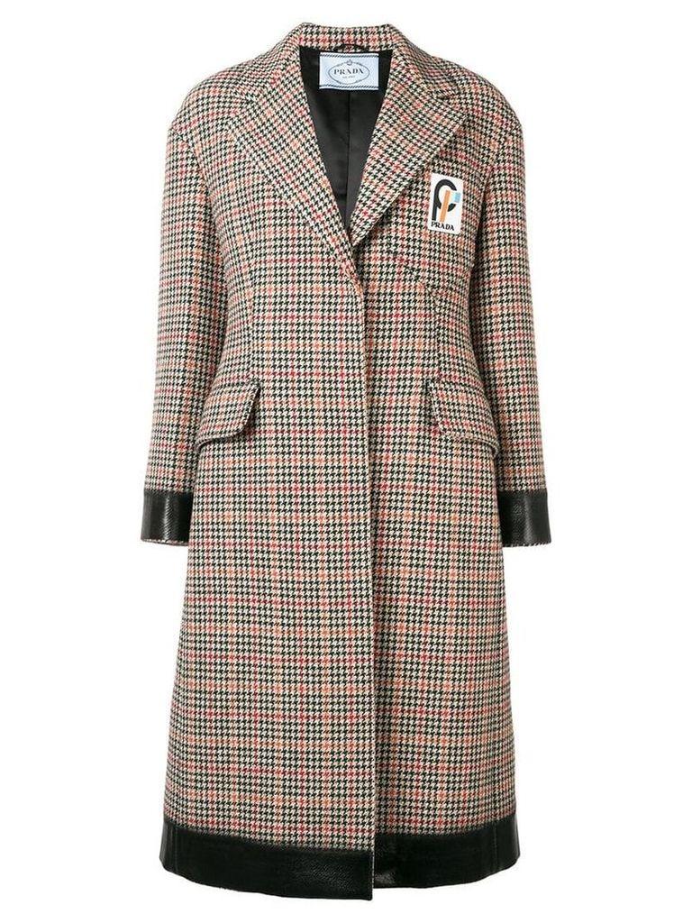 Prada houndstooth print midi coat - Neutrals