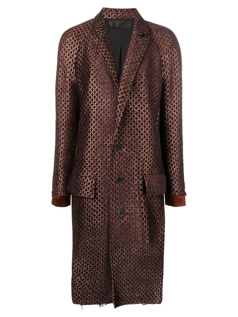 Haider Ackermann jacquard single-breasted coat - Brown