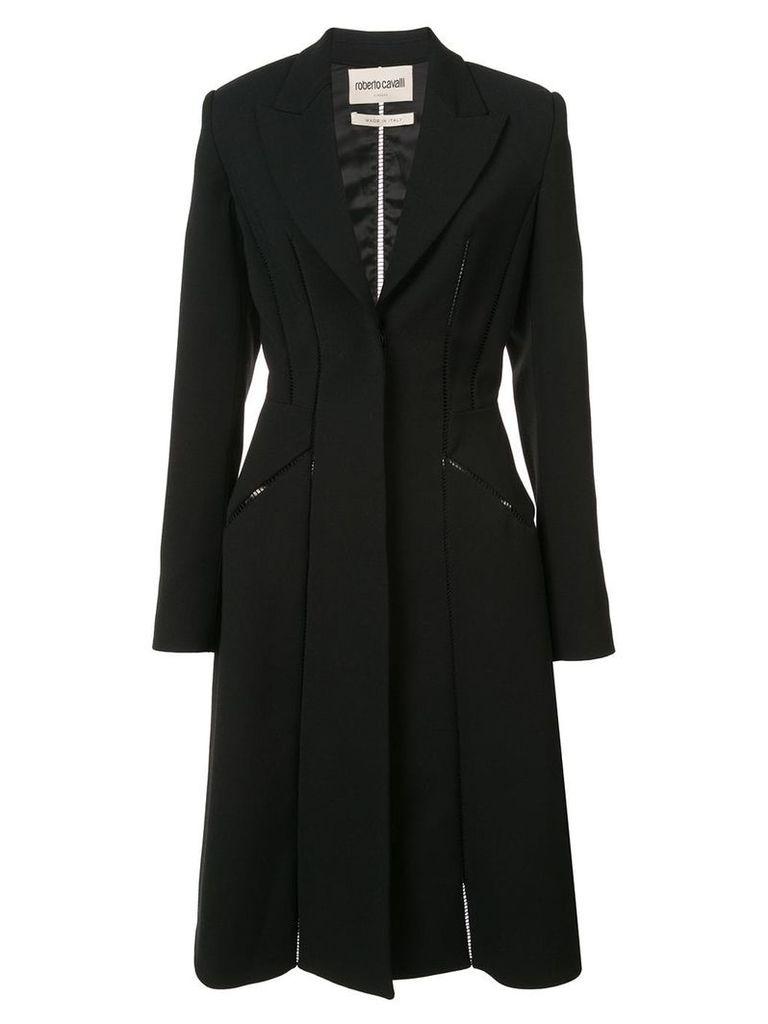 Roberto Cavalli seam detailed fitted coat - Black