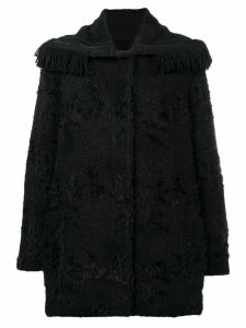 Ermanno Scervino fringed-collar fitted coat - Black