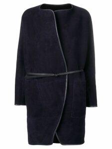 Vanessa Bruno belted shearling coat - Blue