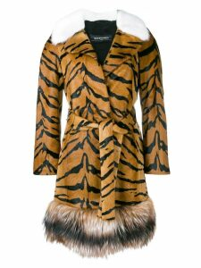 Simonetta Ravizza tiger print fur coat - Brown