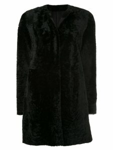 Drome round neck mid-length coat - Black