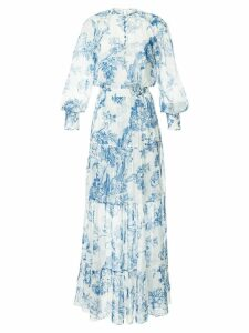 Oscar de la Renta floral toile pintuck tiered dress - White