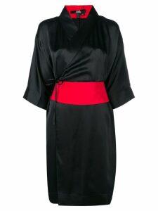 Karl Lagerfeld obi belted kimono dress - Black