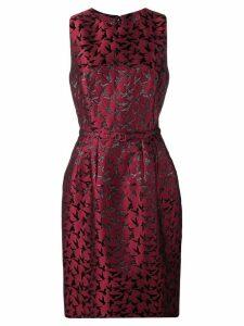 Oscar de la Renta bird pattern cocktail dress - Red