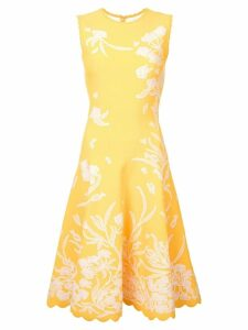 Carolina Herrera floral embroidered dress - Yellow