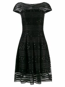 Talbot Runhof sequined lace flared dress - Black