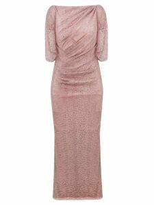 Talbot Runhof lace draped long dress - Pink