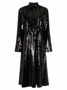 Tibi split neck sequin embellished dress - Black