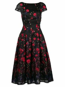 Talbot Runhof poppy embroidered flared dress - Black