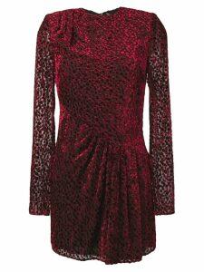 Saint Laurent dotted sheer mini dress - Red
