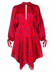 Self-Portrait printed asymmetric dress - Red