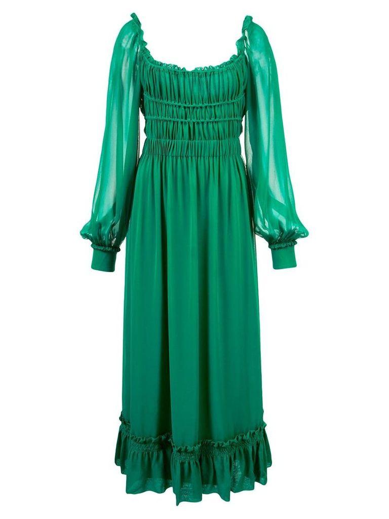 Proenza Schouler Crepe Chiffon Square Neck Dress - Blue
