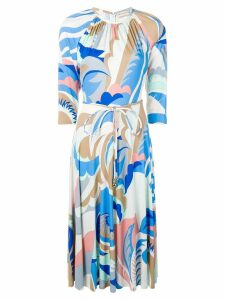 Emilio Pucci Acapulco Print Gathered Neck Dress - Blue