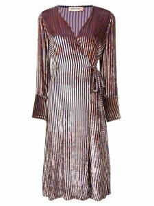 Black Coral striped velvet wrap dress - Purple