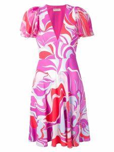 Emilio Pucci Rivera Print Ruffle Sleeve Dress - PINK