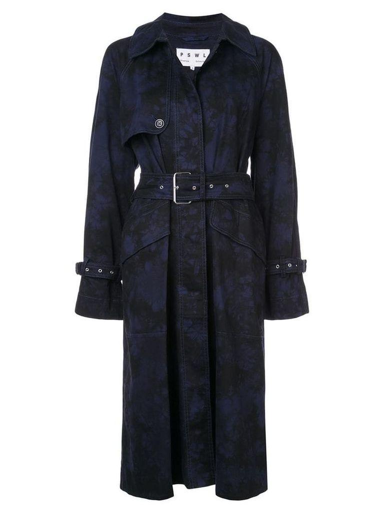 Proenza Schouler PSWL Bleach Dye Trench Coat - Black