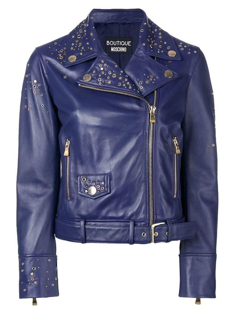 Boutique Moschino studded biker jacket - Blue