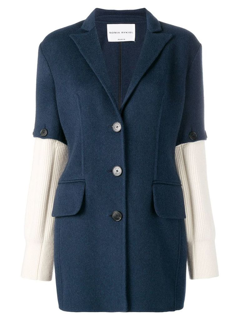 Sonia Rykiel knitted sleeves blazer - Blue