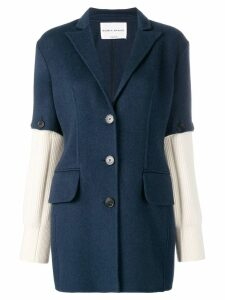 Sonia Rykiel knitted sleeves blazer - Blue