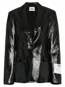 MSGM single-breasted logo patch vinyl blazer - Black
