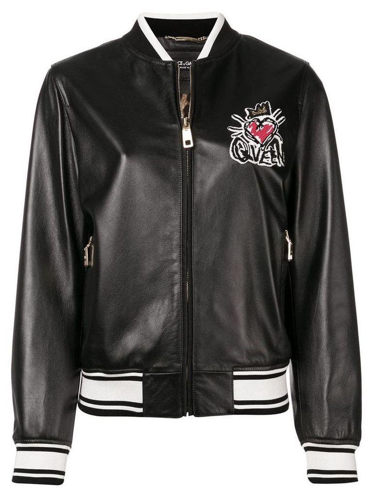 Dolce & Gabbana embroidered bomber jacket - Black
