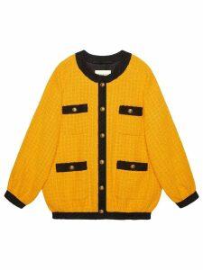 Gucci Oversize tweed bomber jacket - Yellow