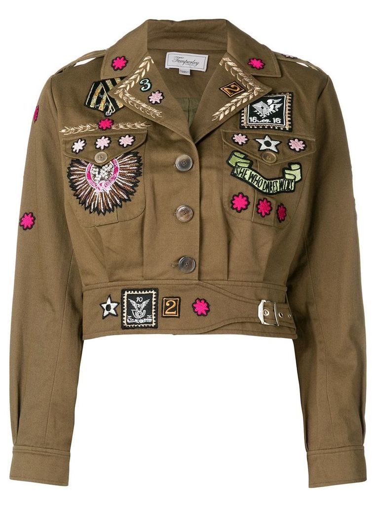 Temperley London Memento cropped jacket - Green
