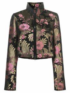 Josie Natori floral-jacquard jacket - Black