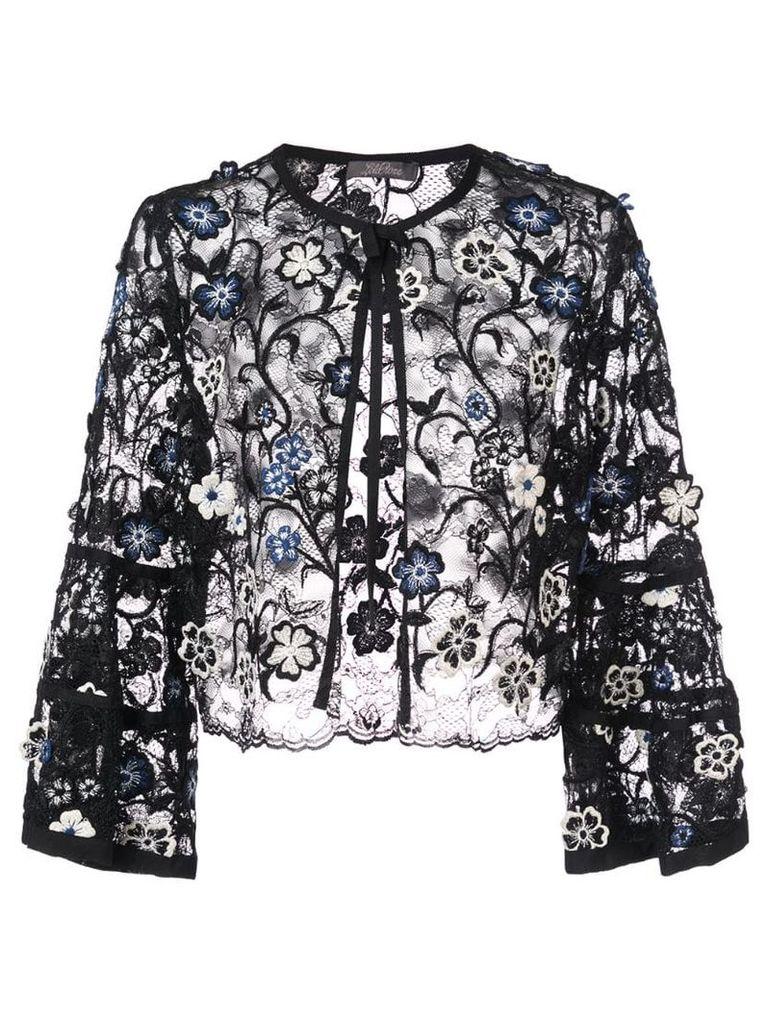 Lela Rose 3D embroidered bolero jacket - Black