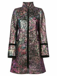 Josie Natori long jacquard jacket - Black
