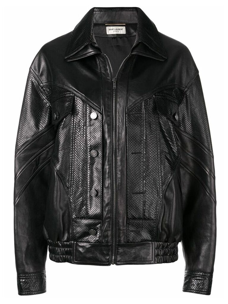 Saint Laurent zipped biker jacket - Black