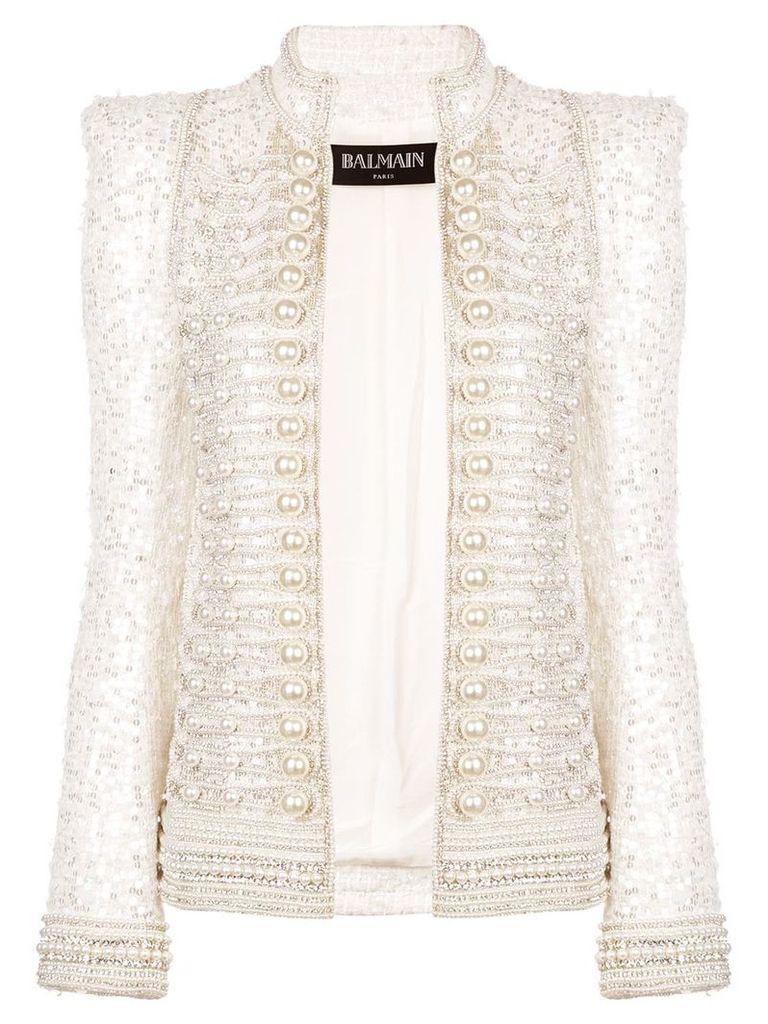 Balmain embellished military jacket - White