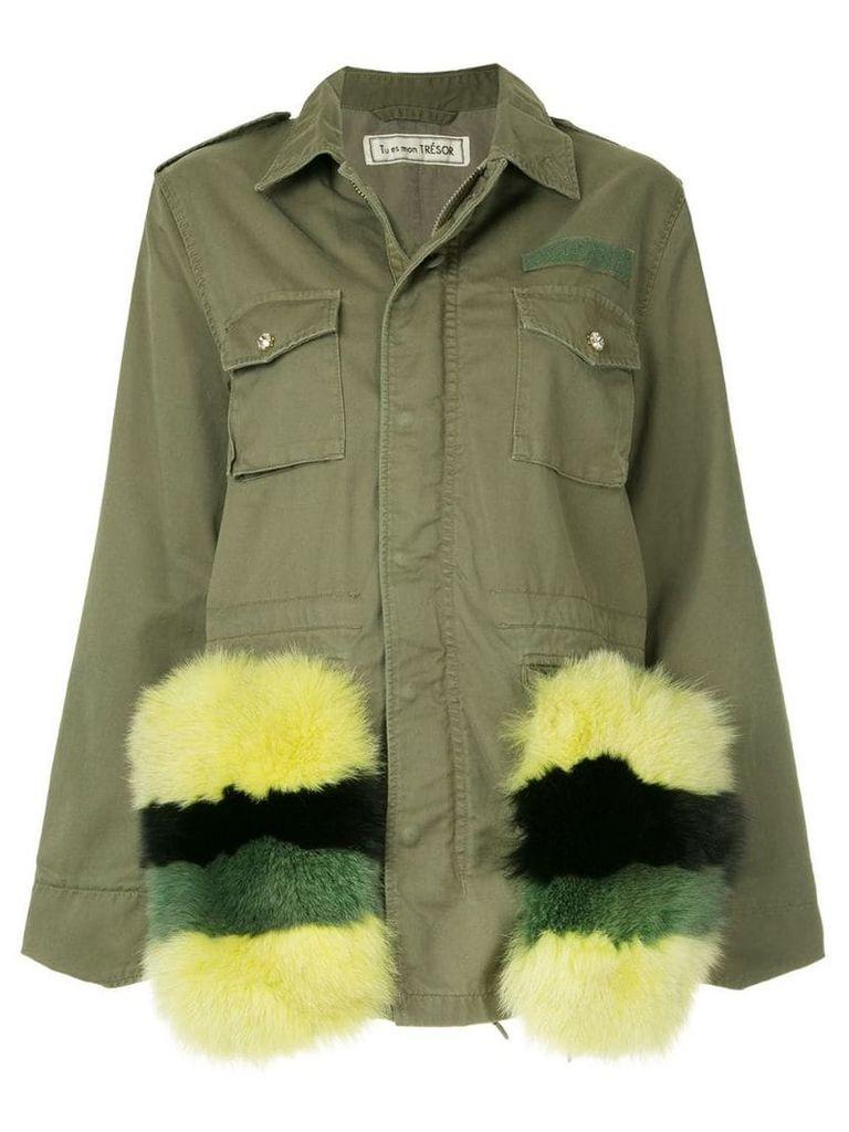Tu es mon TRÉSOR Fur pocket field jacket - Green