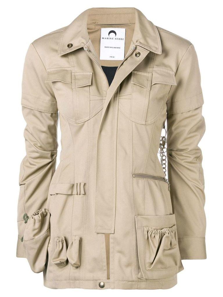 Marine Serre utility pocket jacket - Neutrals