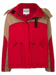 Kenzo hooded colour-block parka - Red