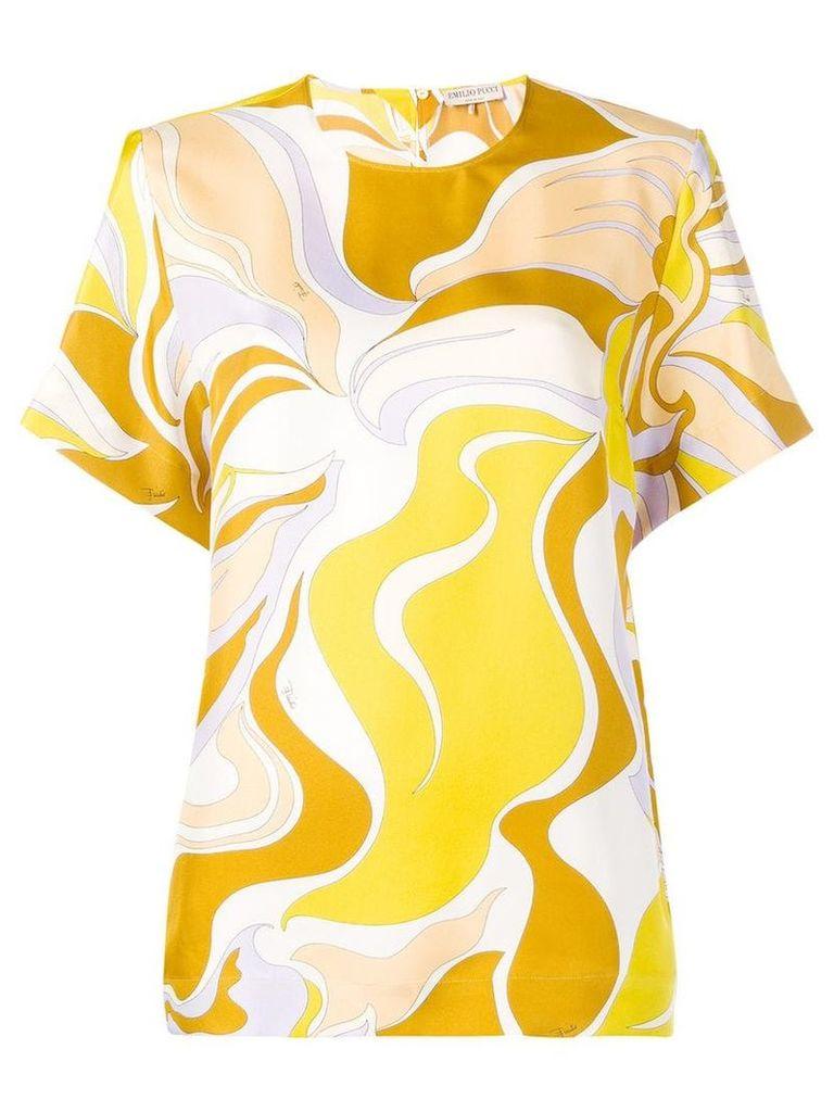 Emilio Pucci Rivera Print Silk T-shirt - Yellow
