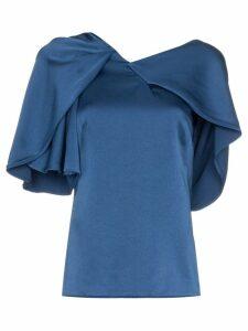 Peter Pilotto draped asymmetric shoulder silk top - Blue