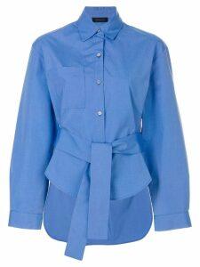 Eudon Choi asymmetric belt shirt - Blue