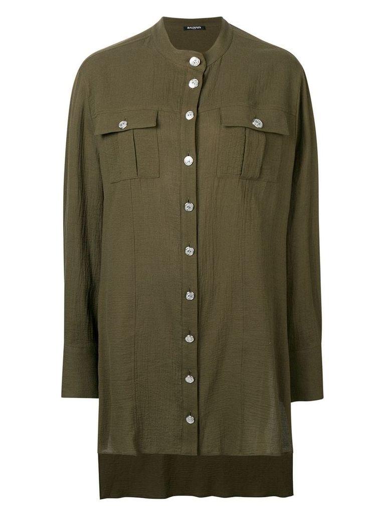 Balmain oversized longline shirt - Green