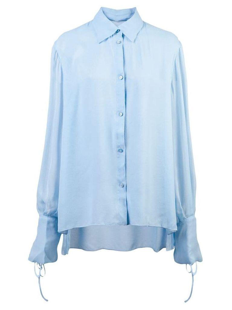 Carolina Herrera tie cuffs shirt - Blue