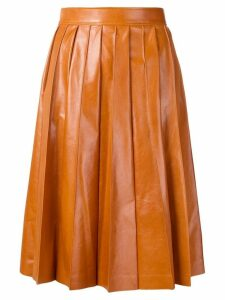 Bottega Veneta shiny pleated leather skirt - Orange