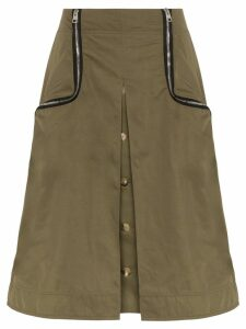 JW Anderson zip-detail twill taffeta skirt - Green