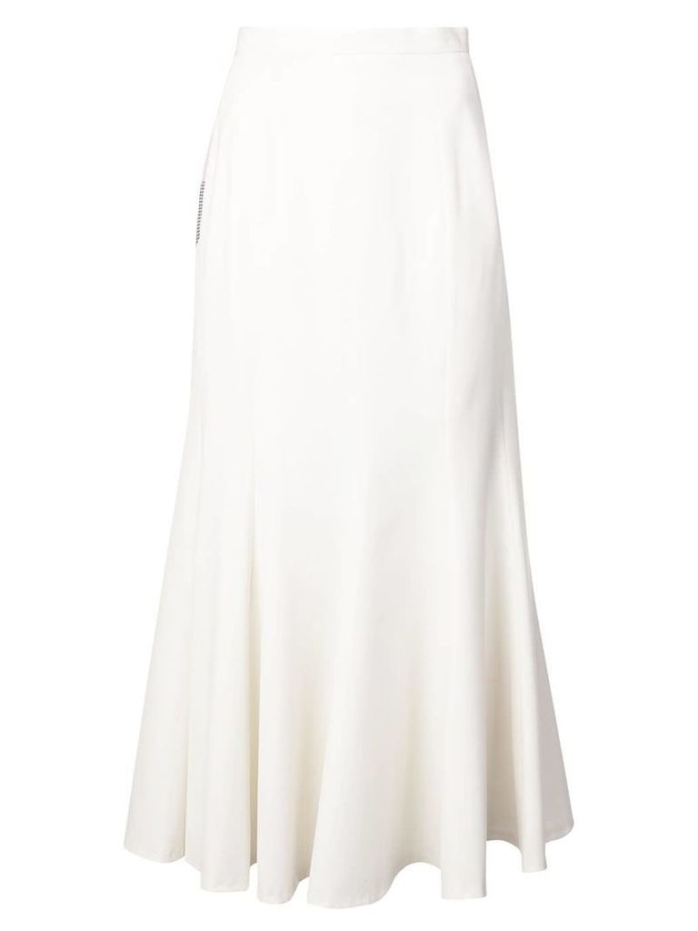 Natasha Zinko colourblock ruffled midi skirt - White