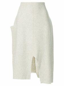 Pringle Of Scotland asymmetric knitted skirt - White