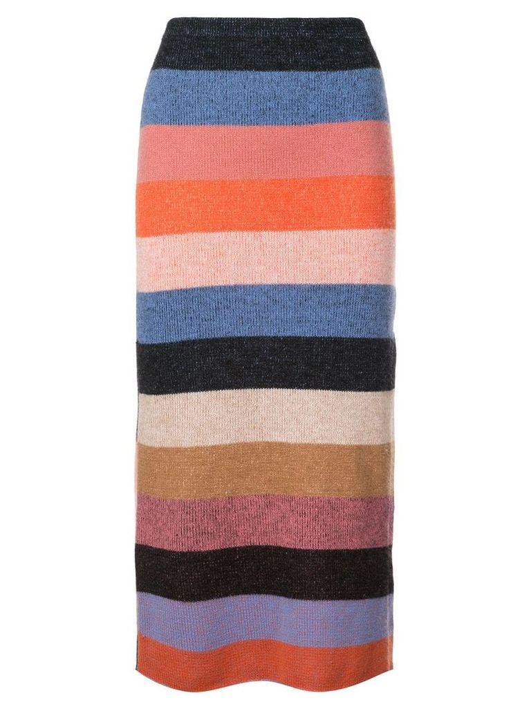 The Elder Statesman knitted striped skirt - Multicolour